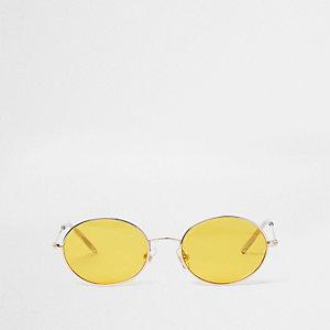 Retro zonnebril met geel getinte ovalen glazen voor meisjes