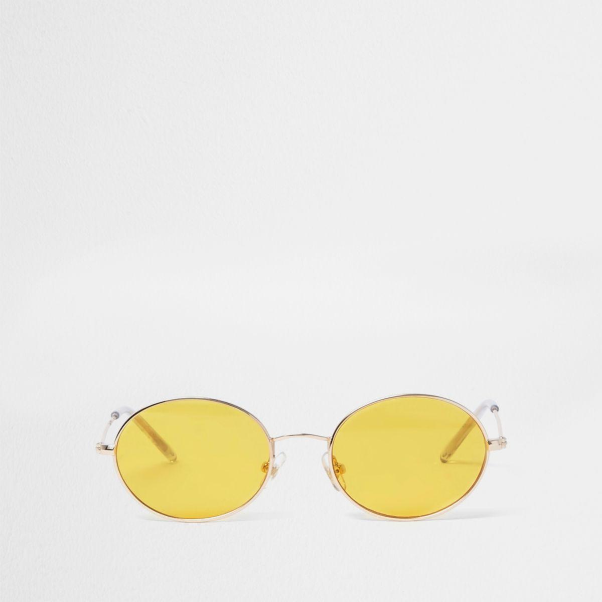 Lunettes de soleil rétro ovales teintées jaunes pour fille