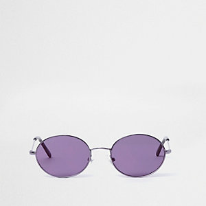 Girls purple tinted oval retro sunglasses