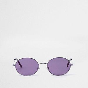 Retro zonnebril met paars getinte ovalen glazen voor meisjes