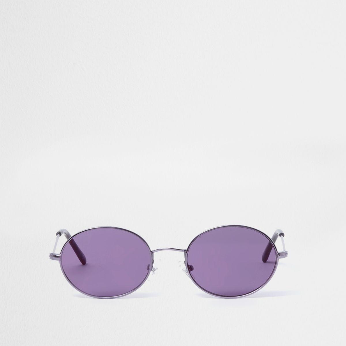 Ovale Retro-Sonnenbrille in Lila