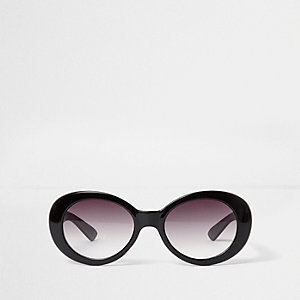 Girls black oval retro style sunglasses