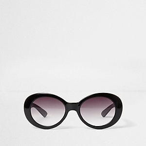 Zwarte ovaalvormige retro zonnebril voor meisjes