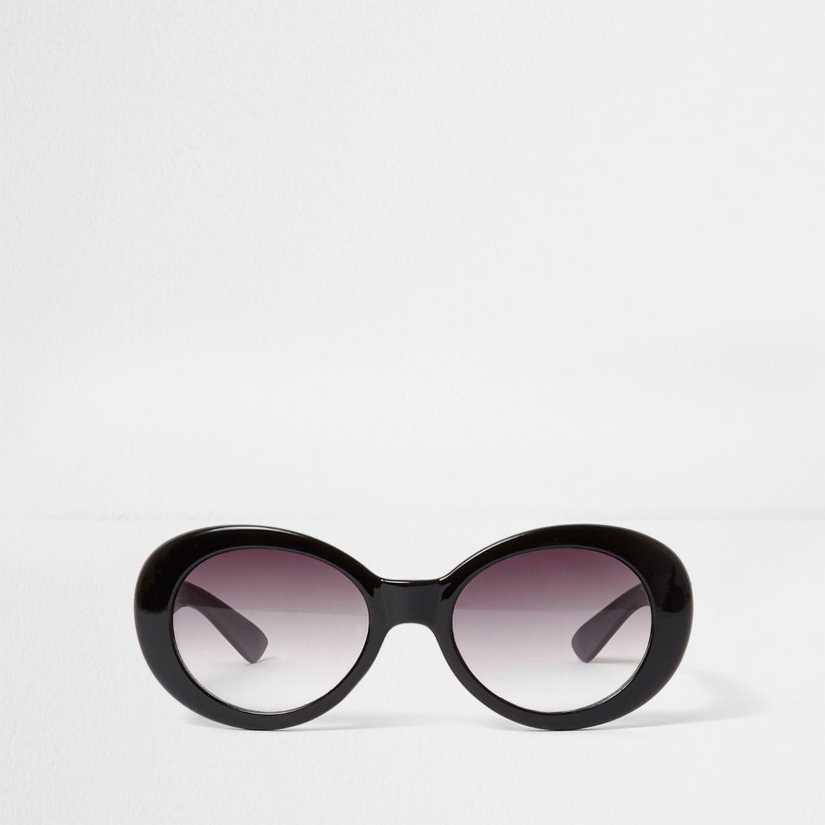 Girls black oval retro style sunglasses