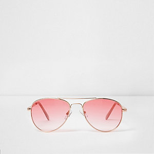 Girls pink clear lens aviator sunglasses
