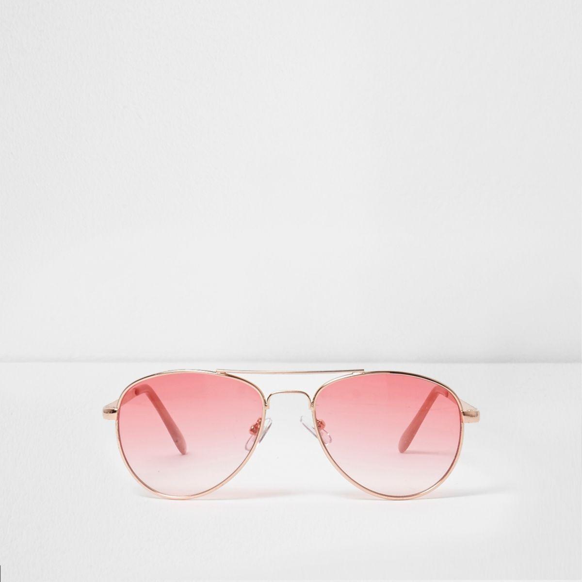Lunettes de soleil aviateur roses à verres transparents pour fille