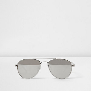 Girls silver tone mirror aviator sunglasses