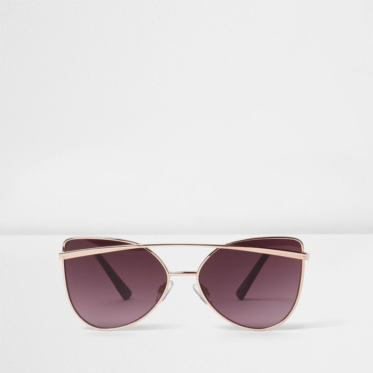 Girls Rose Gold Tone Brow Bar Sunglasses by River Island