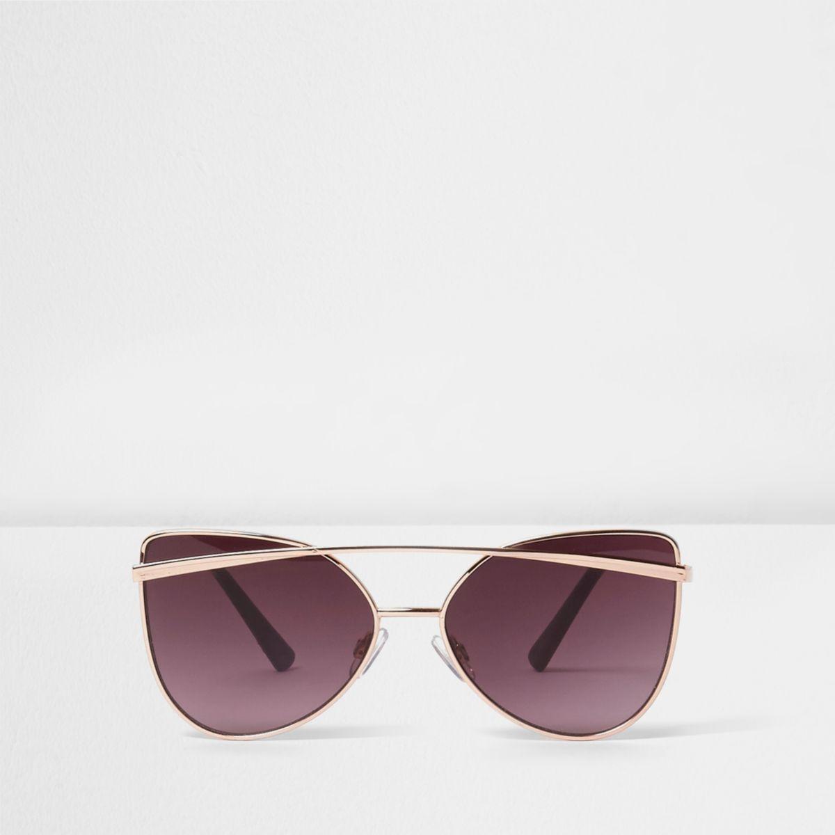 Girls rose gold tone brow bar sunglasses