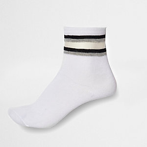 Girls white mesh stripe tube socks