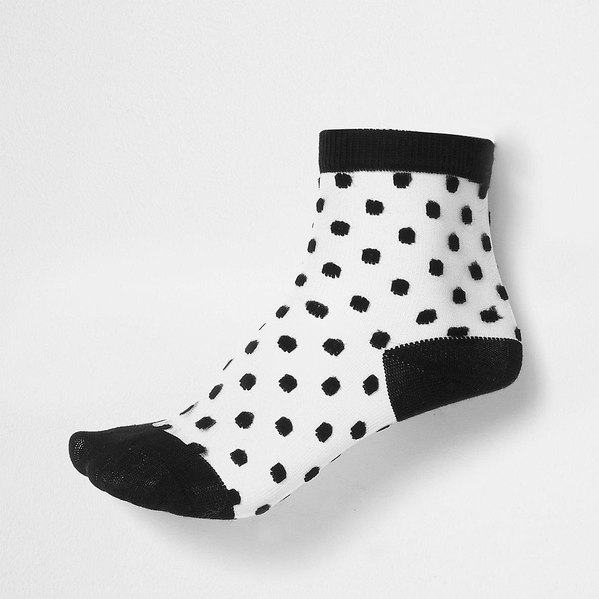 Chaussettes à pois noirs floqués pour fille