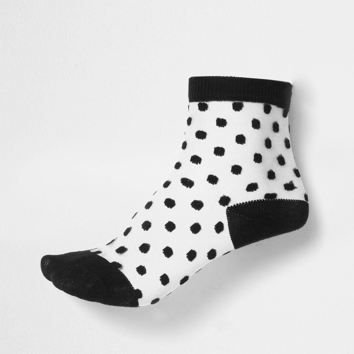 Girls black flocked polka dot mesh socks