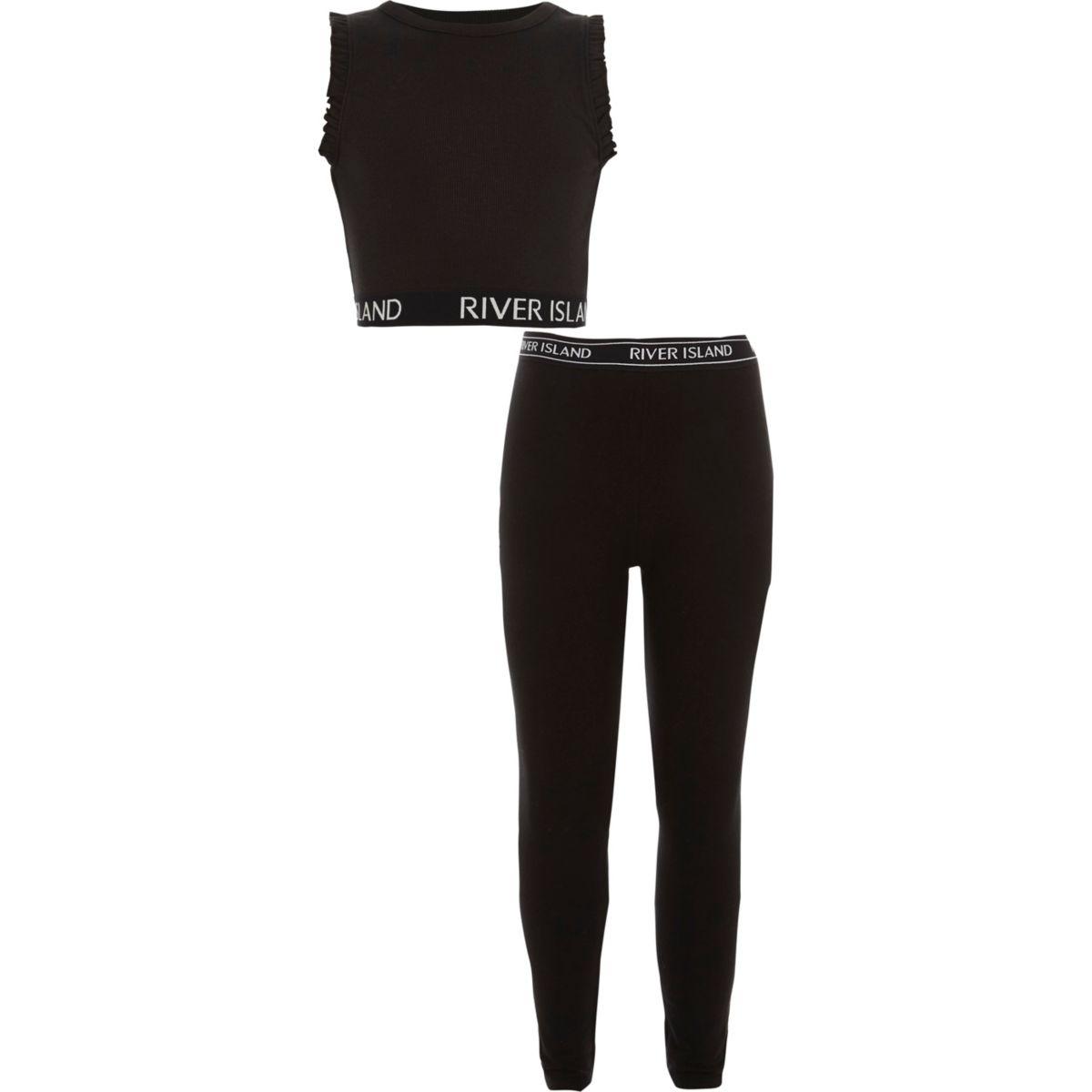 Girls RI black crop top and leggings outfit