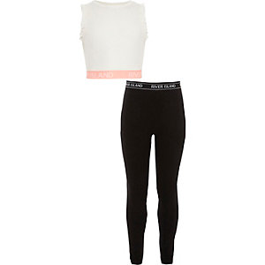 RI – Ensemble legging et crop top blanc pour fille