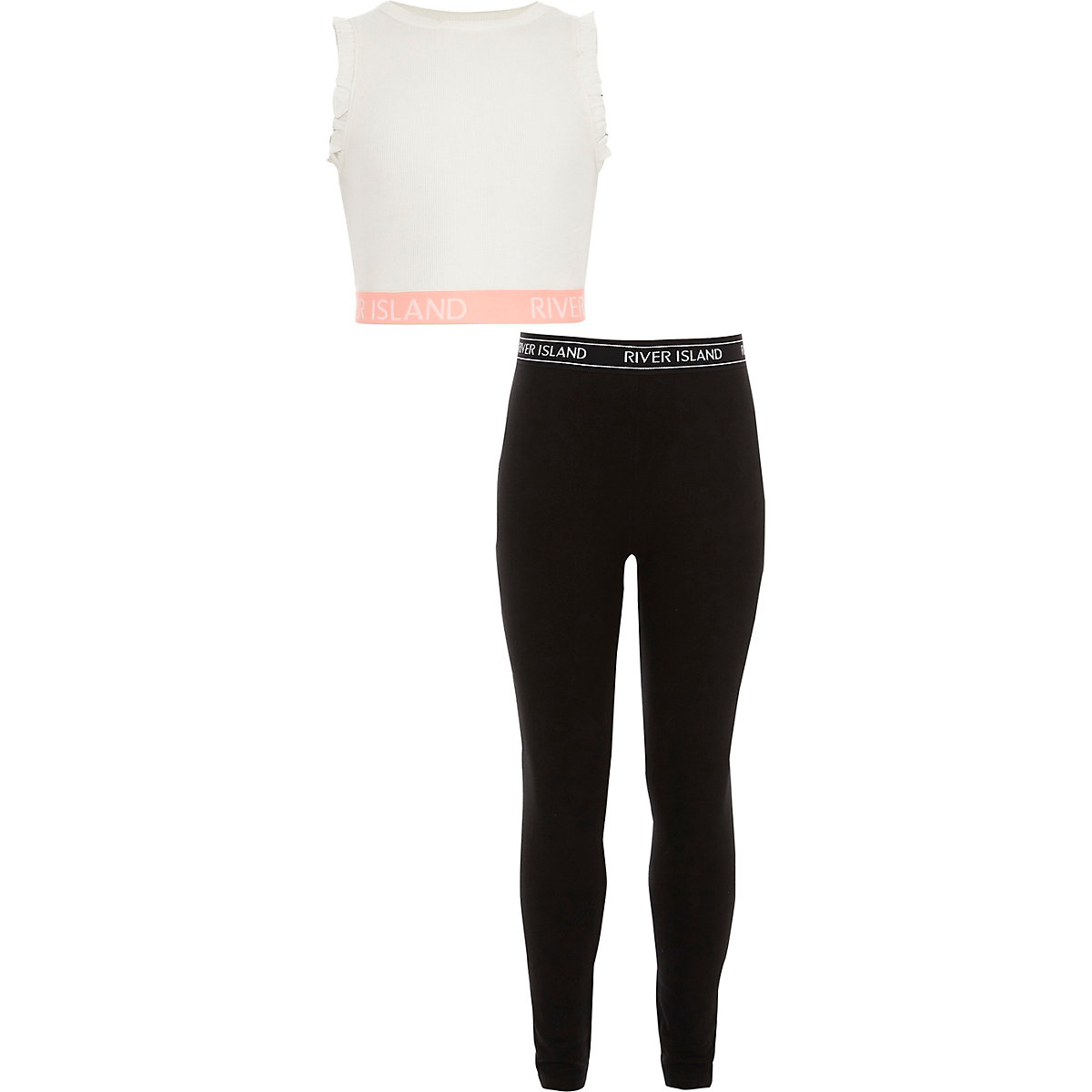 RI – Ensemble legging et crop top blanc pour fille