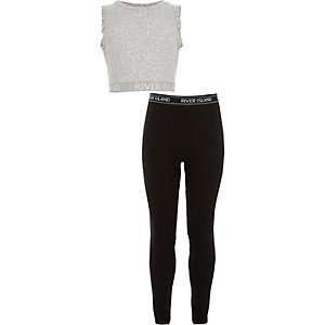 Girls RI grey crop top and leggings outfit