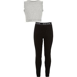 RI - Outfit met grijze crop top en legging voor meisjes