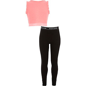 Girls black branded waistband crop top outfit