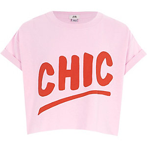 Girls pink 'chic' cropped T-shirt
