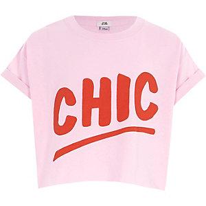 Roze cropped T-shirt met 'chic'-print voor meisjes