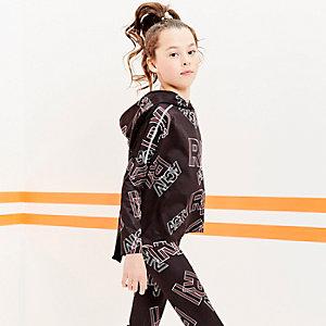 RI Active - Zwarte hoodie met zwarte mesh achter voor meisjes