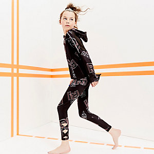 Girls RI Active black 'RI' print leggings