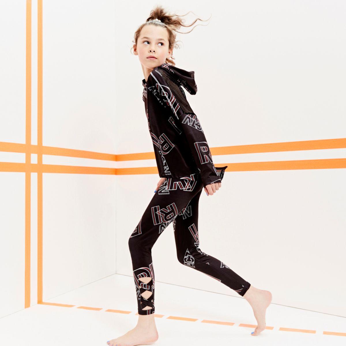 Girls RI Active black 'RI' print leggings