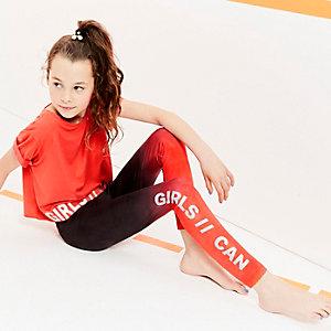 Girls black ombre RI Active leggings