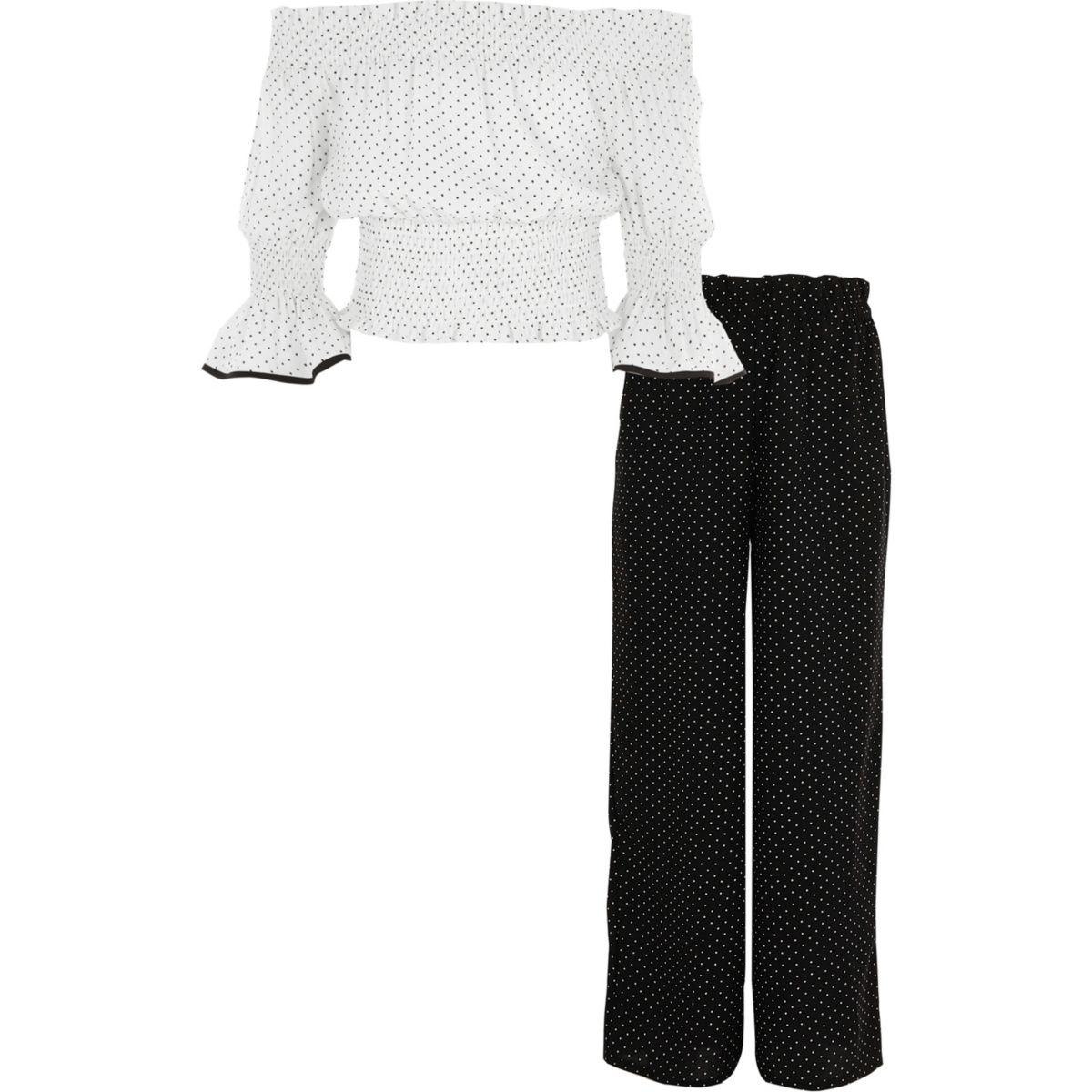 Girls cream polka dot bardot top outfit