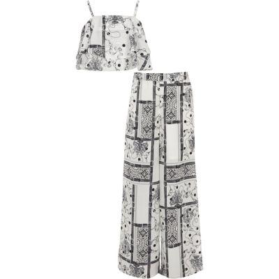 River Island Ensemble avec crop top imprimé foulard noir et blanc pour fille