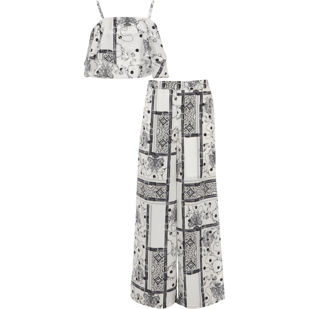 Girls mono scarf print crop top outfit
