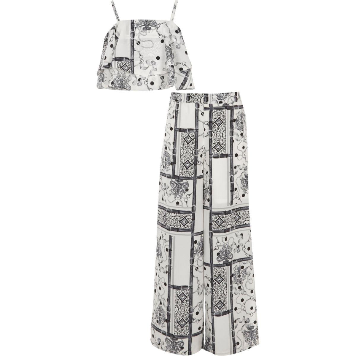 Ensemble avec crop top imprimé foulard noir et blanc pour fille
