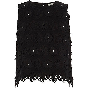 Girls black lace embellished shell top