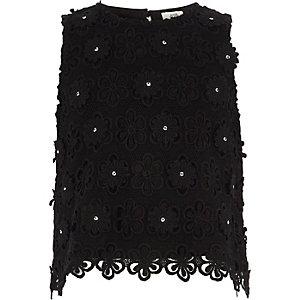 Zwarte verfraaide top met kant voor meisjes