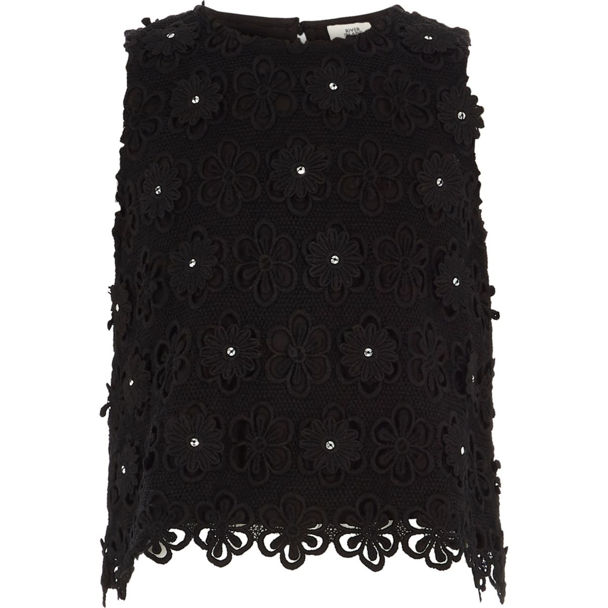 Girls black lace embellished shell top