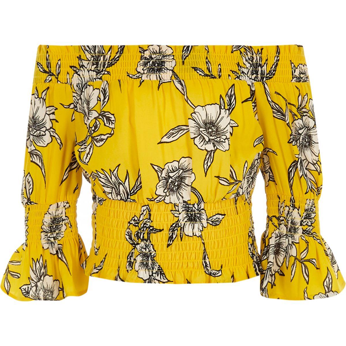 Girls yellow floral print shirred bardot top