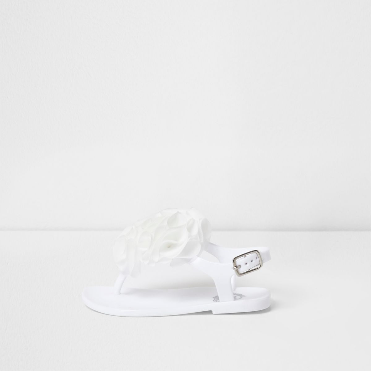Mini girls white ruffle jelly sandals