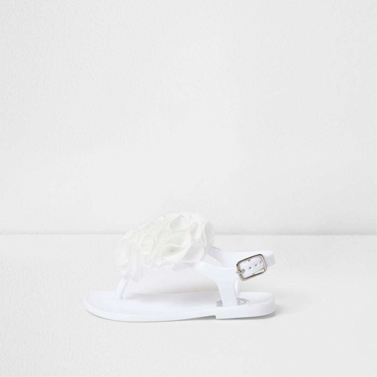 Mini girls white ruffle jelly sandals