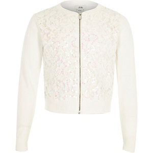 Girls white lace sequin zip up cardigan
