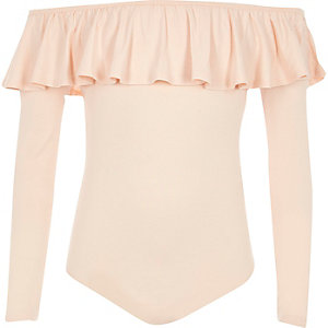 Girls light pink frill bardot bodysuit