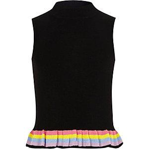 Zwarte mouwloze top met regenboogzoom voor meisjes