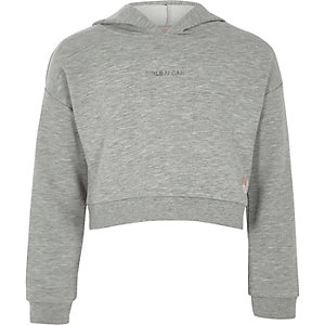 RI Active – Sweat « girls can » gris à capuche pour fille