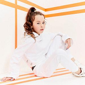 RI Active – Sweat court blanc à capuche pour fille