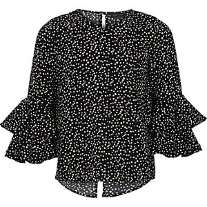 Girls black polka dot frill bell sleeve top