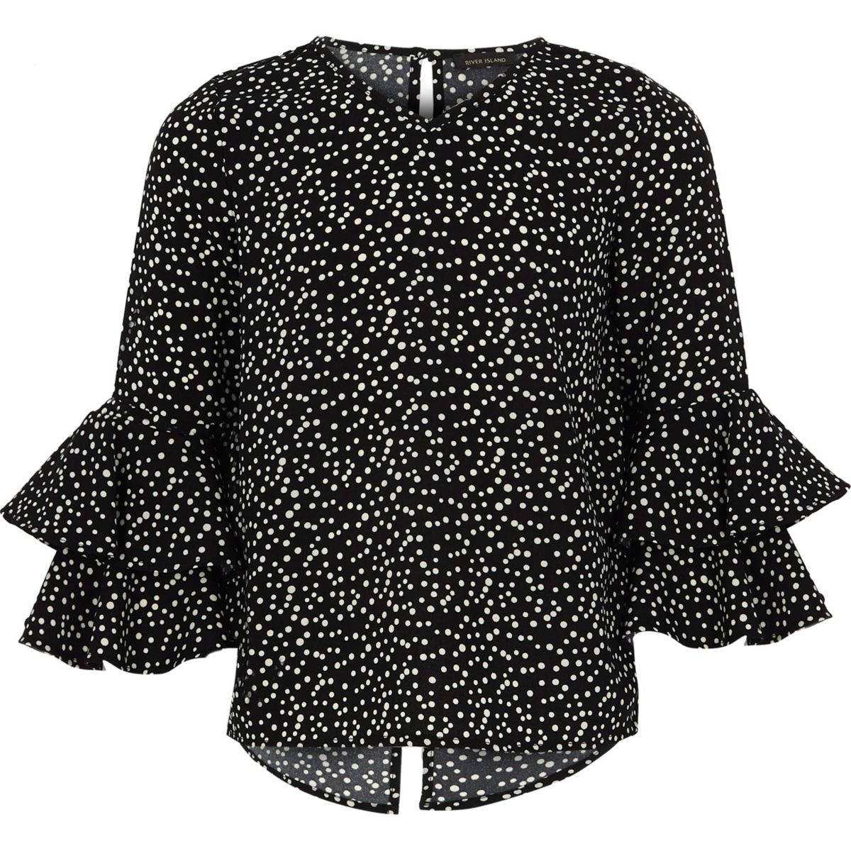 Girls black polka dot frill bell sleeve top