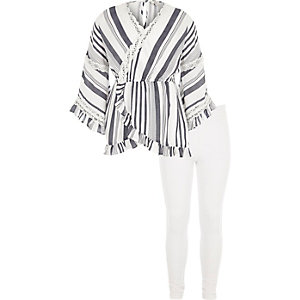 Girls white stripe wrap tunic outfit