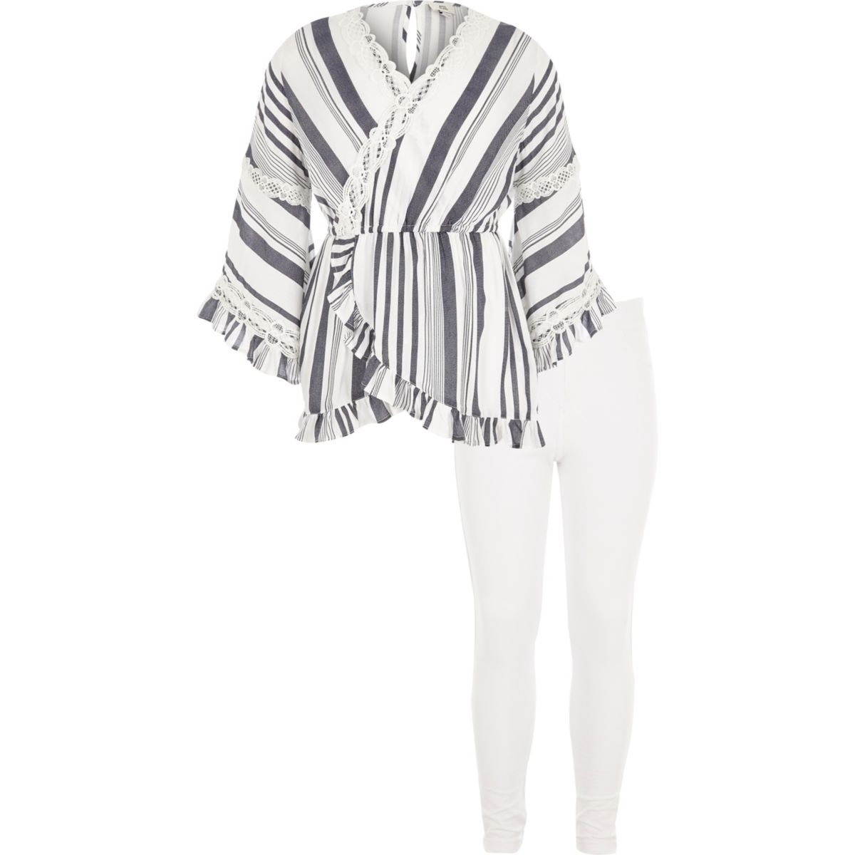 Girls white stripe tunic and leggings outfit