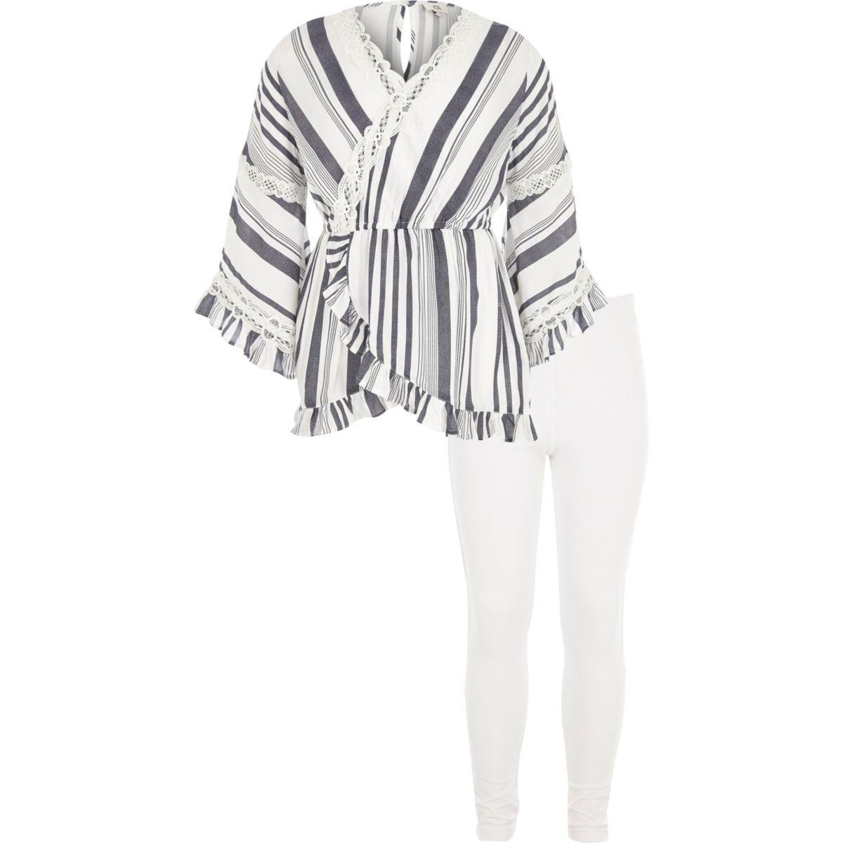 Ensemble leggings et tunique rayé blanc pour fille
