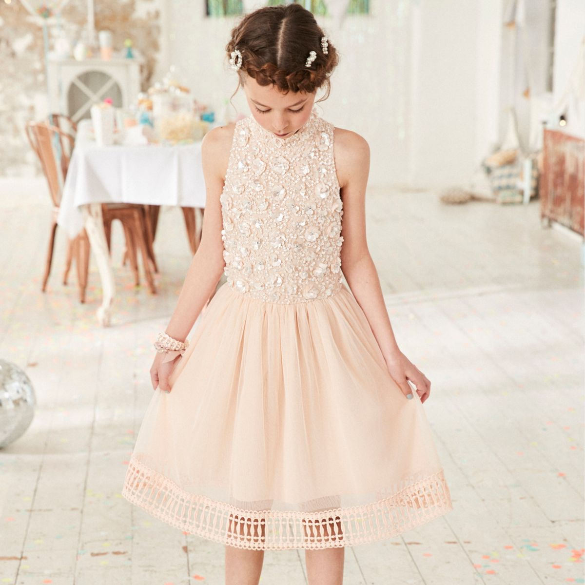 Flower Dress: Girls Pink Embellished Mesh Flower Girl Dress
