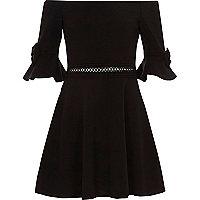 Girls black bow bardot dress
